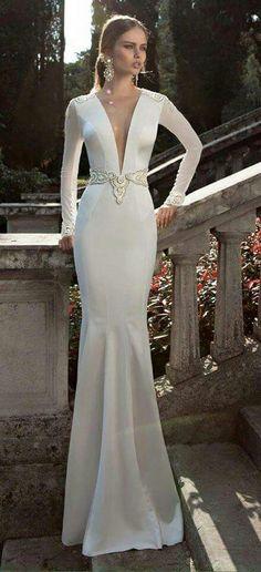 Vestido novia sexy con mangas corte sirena escote en v, cinto bordado con guipiur