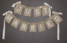 Just Married Burlap Wedding Banner - make a cloth banner that matches the photobooth backdrop and seating card frame