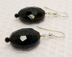 Black Crystal Earrings, Black Chinese Crystal Earrings, Jet Black Crystal Jewelry, Handmade, Crystal Earrings, Black Crystal, Black Earrings by KBeadsIt on Etsy
