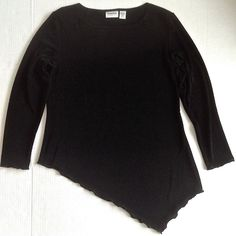 CHICOS Travelers Asymmetrical Top Blouse Black Ruffled Hem Size 2/Medium 10 #Chicos #Top