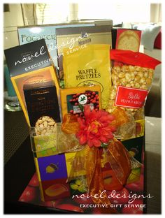 Autumn Harvest Gift Basket  This festive fall gift basket includes a bountiful assortment of gourmet snacks including cookies, chocolates, caramel corn, pretzels, cheese, crackers and more!  Have this gift basket hand delivered to any Las Vegas hotel/casino, resort, business or residential address!