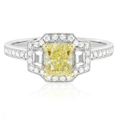 Unique Yellow Diamond Ring in 18K Two-Tone Gold on HowHeAsked's Ring Finder