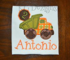 Construction Truck No 2 Machine Embroidery Applique Design - 5x7 & 6x8 by KCDezigns on Etsy https://www.etsy.com/listing/164082264/construction-truck-no-2-machine