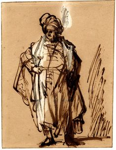 Study of an Oriental standing; WL, to front, wearing a long cloak and a large turban with a plume, his r hand on his belt. c.1639 Pen and brown ink, with brown wash, heightened with white, on light brown prepared paper Verso: Head of a man wearing a turban, cancelled sketch Pen and brown ink