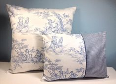 French Country pillow cover. Blue Toile. Cottage chic. Country