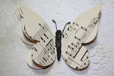 Upcycled Butterfly Magnet Vintage Music by IsaCreationsVintage, $3.00