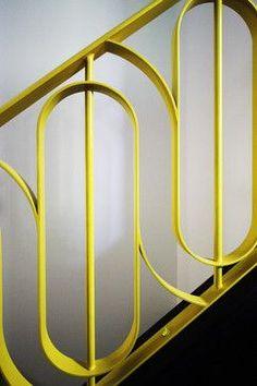 Yellow mid century staircase