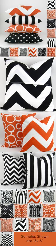 Halloween Pillow Covers -MANY SIZES- Black Orange Mix/Match patterns cushion sham euro throw modern bold halloween decor Premier Prints