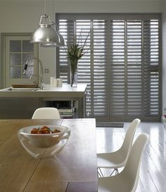 Buy custom interior plantation window shutters at the best prices. Expert Plantation Shutter and Solid Wooden Shutters made to fit your windows. The Shutter Store. Patio Door Shutters, Country Shutters, Kitchen Shutters, Wooden Window Shutters, Interior Shutters, Interior Windows, Kitchen Doors, Doors