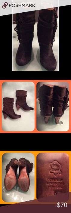 "Chocolate Brown Pony Fur Boots! W Fringe Hand made in New York. Brown pony hair bottoms. Suede upper w fringe side detailing &  3"" glitter heel! Boots are mid calf. Super comfortable boots, leather lined & leather soles. In great condition. No scuffs or damage! Look great w skirts, dresses & jeans!! Only wear is on bottom soles but still look new! Maybe worn once. MB Shoes Ankle Boots & Booties"