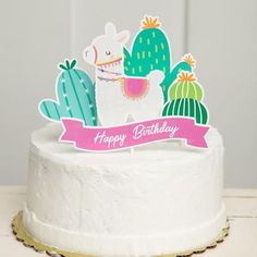 Party Cakes, Party Favors, Llama Decor, Cactus Cake, Llama Birthday, Fiesta Party, Happy Birthday Banners, Unicorn Party, Party Printables