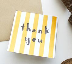 """Thank You Cut Out Card – Kori Clark  This mini thank you card is both sweet and modern with it's cut out """"thank you"""" and bright stripes! Simply print, cut, fold, and make someone's day!  DIY, created with a Cricut Explore, creative cards, crafting, crafts"""