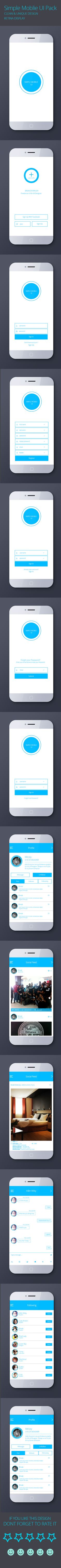 Simple_Flat_Mobile_UI_Design_Free_PSD by Md Joy, via Behance