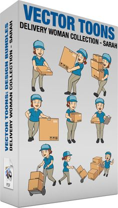 Delivery Woman Collection Sarah #box #boxes #bright #bringing #bundle #cap #carry #carrying #case #cheerful #clipboard #compartment #container #courier #deliver #delivery #deliveryservice #DHL #duty #employee #facialexpression #facialgesture #FEDEX #felicitous #female #flatbox #glad #grin #grinning #grownup #handover #handtrolley #happy #heavy #individual #joyful #joyous #largebox #lifting #mediumbox #messenger #multipleboxes #on-duty #package #packet #pants #parcel #vector #clipart #stock