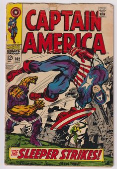 Captain America; Vol 1, 102, Silver Age Comic Book. GD (2.0). June 1968. Marvel Comics #captainamerica #jackkirby #stanlee #silveragecomics #comicsforsale