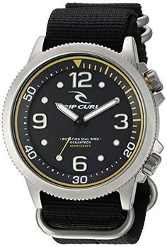 Rip Curl DVR Quartz Stainless Steel and Nylon Sport Watch ColorBlack Model ** To view further for this item, visit the image link.