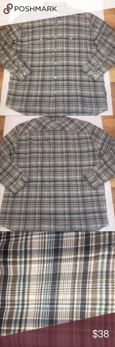 """Patagonia Steersman Plaid Button Shirt XL Organic Patagonia Steersmanplaid button down shirt. Mens sizeXL. 100% organic cotton in white, brown, blue, and green. Long sleeve. Pre-owned with lots of life left! Measures:  Across from underarm to underarm: 26"""" Length from top of shoulder to the bottom: 31"""" Patagonia Shirts Casual Button Down Shirts"""
