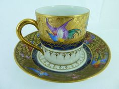 Vintage Porcelain Le Tallec Limoges Paris France Gilt Coffee Cup Birds N°6 | eBay