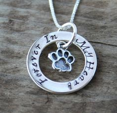 Eternity Circle Necklace for Pet Owners - Cat or Dog - Memorial or Pet Lover. $58.00, via Etsy.