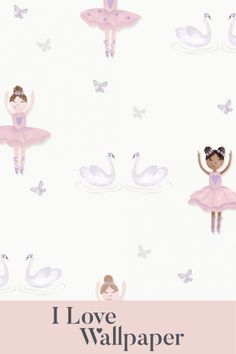 Bring your childrens bedroom to life with the Ballerina Dancer Wallpaper in Cream and Pink. This stunning childrens wallpaper features a clean cream background with delicate, cute and colourful ballerina's spaced evenly around the wallpaper, subtly broken up by pairs of swans and individual butterflies intermittently spread around the pattern. Ideal for decorating any girls bedroom.
