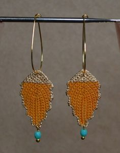 Gold Vintage Inspired Irish Crochet Leaf Dangle Earrings w Turquoise Bead on Etsy, $25.00