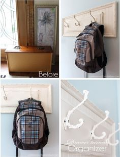 Repurposed Drawer front and frame becomes a coat rack.