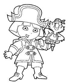 kleurplaat dora piraat