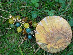 Biżuteria - słoneczniki w jadeitach i chryzokolach na koniczynach