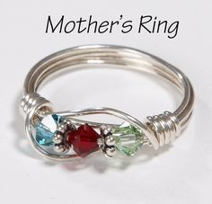 Mother's Ring 3 Birthstones Sterling Silver by SilveradoJewelry, $22.00