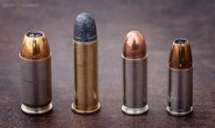 From left to right; .45 ACP, .38 Special, .38 Super +P, 9mm
