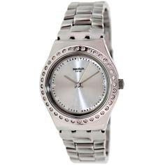 Swatch Women s Irony Silver Stainless-Steel Swiss Quartz Watch with Silver  Dial 526abd74f16