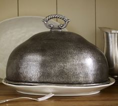 Antique Turkey Cloche ~ Made of hand-hammered steel and aluminum with an antique-silver finish.