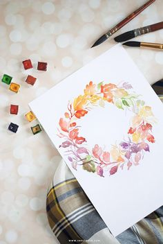 DIY watercolor fall wreath. Click on to learn how to paint them | Inkstruck Studio