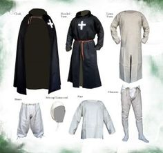 Complete from crusading XII / XIII century., Medieval - Medieval Clothing - Clothing medieval tunic complete with cap, shirt, pants, chausses, belt, cap. Period: mid 1100 to mid 1200
