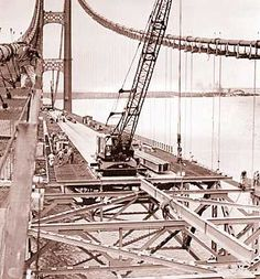 Mackinac Bridge being built, August 1957