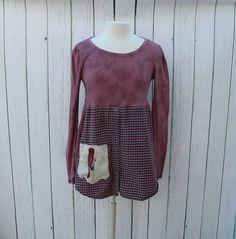 susie bubble upcycle clothing | Upcycled Tunic / Mauve Women's Clothing / Altered Couture / Boho Shirt ...