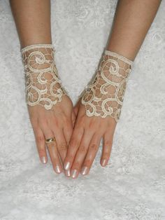 FREE SHIP Wedding Gloves lace gloves Fingerless by WEDDINGGloves, $28.00