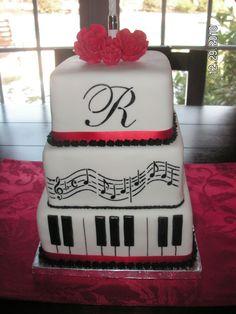 Very elegant music cake with monogram.