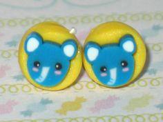 Elephant Stud Earrings 7mm Polymer Clay Earrings by DIYArtMart
