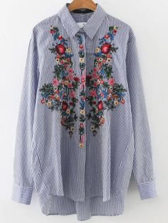Blusa asimétrica a rayas con bordado floral - azul -Spanish SheIn(Sheinside) Sitio Móvil