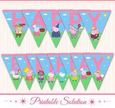 Peppa Pig Banner Peppa Pig Birthday Banner por PrintableSolution