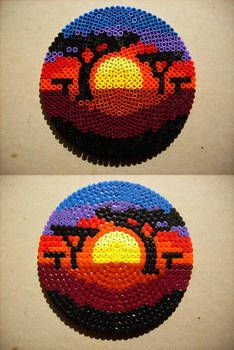 The Hama version of my Deviantart birthday entry. I wounder why so few people use the round peg board. birthday Hama Sunset by Schwarzer--Ritter on DeviantArt Easy Perler Bead Patterns, Melty Bead Patterns, Perler Bead Templates, Diy Perler Beads, Perler Bead Art, Beading Patterns, Pearler Beads, Melty Beads Ideas, Hama Beads Coasters