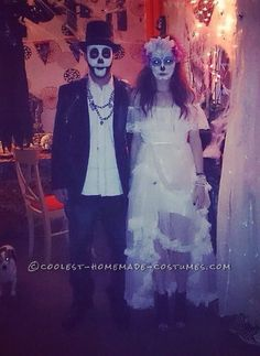 Cool Homemade Day of the Dead Couple Costume...