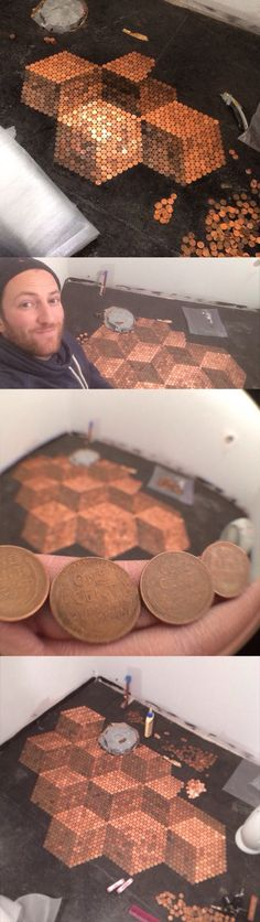 coins pennies floor bathroom. very cool with pattern. bodekunst mit pennies. pfennige. cent fussboden. super cooles muster.