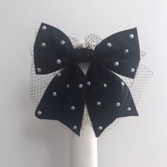 Stunning one of a kind back facing bow fascinator in black and white. Hand crafted from stiffened straw Proudly handmade with love and top quality materials in Auckland New Zealand Custom orders warmly welcomed Fascinator, Headpiece, Auckland New Zealand, Fancy Hats, Race Day, Hair Bows, Claire, Monochrome, Colour Black