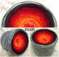 Vulkan: Hochbauschacryl 3 fädig 7 Farben  mandarin orange rot weinrot marone graphit aluminium