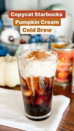 Starbucks Pumpkin, Starbucks Recipes, Starbucks Fall Drinks, Cold Brew Coffee Recipe Starbucks, Pumpkin Coffee Recipe, Pumpkin Drinks, Pumpkin Spice Latte, Cold Coffee Drinks, Coffee Drink Recipes