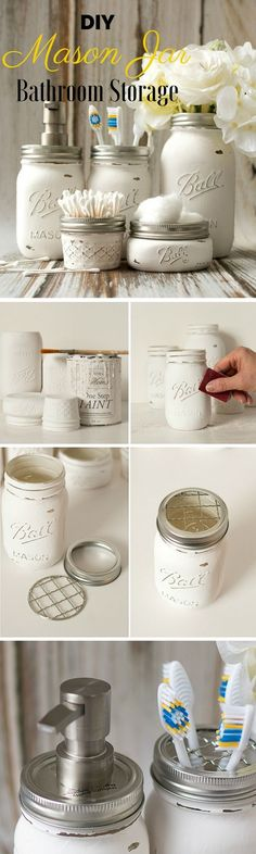 Check out this idea for easy #DIY mason jar bathroom storage #rustic #homedecor #project #budget @istandarddesign
