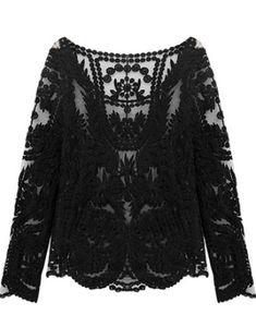 Black Long Sleeve Hollow Crochet Lace Blouse