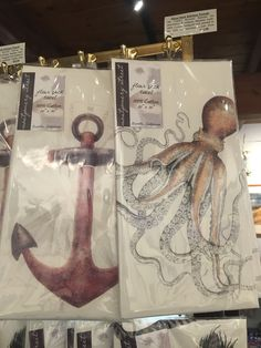 Nautical dish towels - anchor and octopus - from Yankee Ingenuity in Chatham, MA